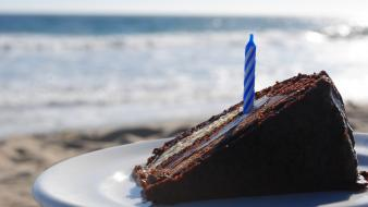 Beach food objects birthday cakes wallpaper