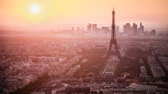 Eiffel tower paris sunset cityscapes skylines france Wallpaper