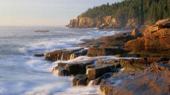 Landscapes nature beach maine otters national park acadia wallpaper