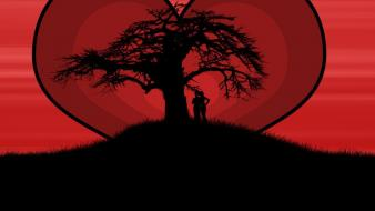 Lovers at love tree wallpaper
