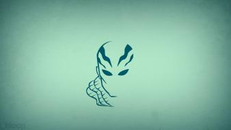 Minimalistic superheroes hellboy blue background abe sapien blo0p wallpaper