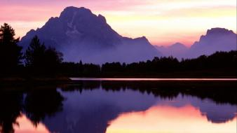 Mountains landscapes nature lakes skyscapes reflections wallpaper