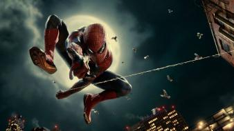 Movies spider-man moon jumping buildings web marvel game wallpaper