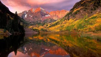 Nature trees lakes skyscapes reflections maroon bells Wallpaper