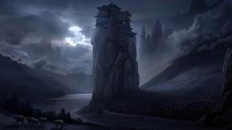 Night tower moon artwork elephants rivers master piece wallpaper