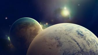 Outer space planets fantasy art Wallpaper