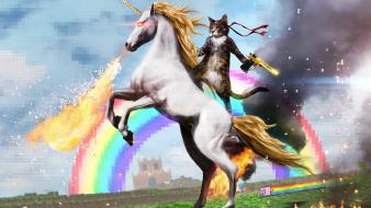 Smoke unicorns funny rainbows nyan cat memes Wallpaper