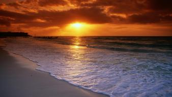 Sunrise nature beach carmen mexico playa caribbean sea wallpaper