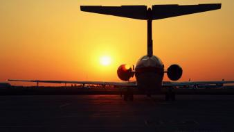 Sunset aircraft artistic sunlight jet wallpaper