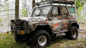 Trees forest cars uaz offroad russian russians wallpaper