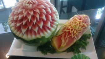 Watermelons artwork floral fruit carving wallpaper