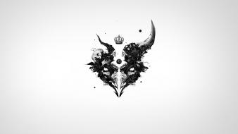 Abstract crowns skulls white background wallpaper