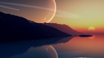 Alien landscapes fantasy art reflections wallpaper