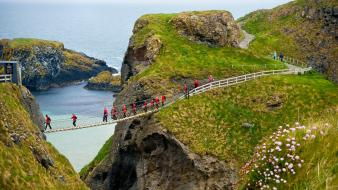 Antrim ireland carrickarede ireland crossing rope bridge wallpaper
