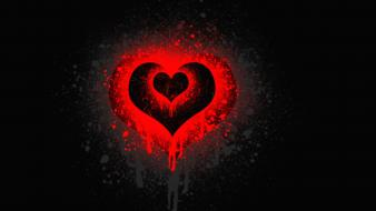 Artwork hearts red simple background symbols Wallpaper