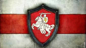 Belarus flags horses knights men wallpaper