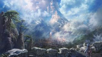 Blade and soul artwork landscapes mountains video games wallpaper