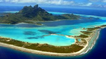 Bora french polynesia beaches cityscapes coral reef wallpaper