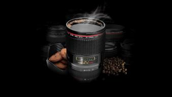 Canon black background coffee beans cups stain wallpaper