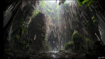 Caves green mountains nature trees wallpaper