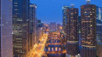 Chicago nocturnal architecture buildings city lights wallpaper