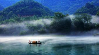 China blue boats dawning fishing wallpaper