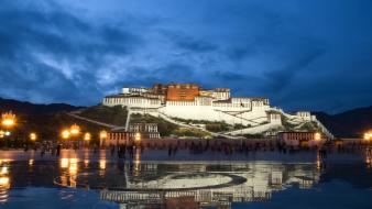 China potala tibet buildings lights Wallpaper