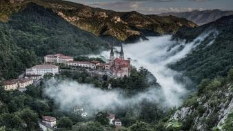 Churches clouds houses landscapes mountains wallpaper