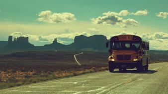Clouds landscapes mountains roads school bus wallpaper
