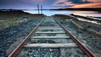 Coast landscapes nature railroad tracks railways Wallpaper