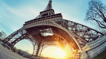 Eiffel tower paris sun fisheye effect low-angle shot Wallpaper
