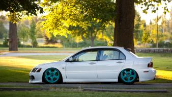 Evo mitsubishi lancer evolution iv slammed cars wallpaper