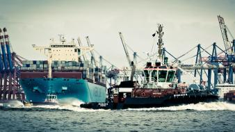 Germany hamburg cranes harbours port wallpaper