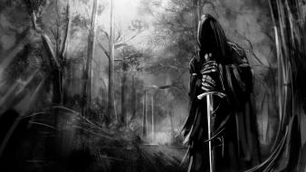 Gothic black and white death forests swords Wallpaper