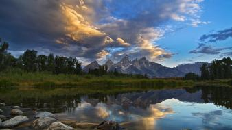 Grand teton national park wyoming clouds dawning wallpaper