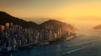 Hong kong cities cityscapes ocean sea wallpaper