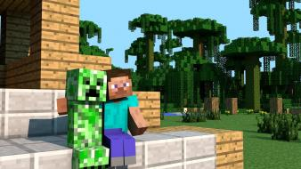 Minecraft steve creeper houses jungle Wallpaper
