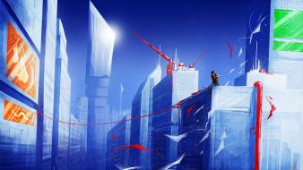 Mirrors edge artwork buildings landscapes town Wallpaper