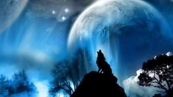 Moon stars wolves Wallpaper