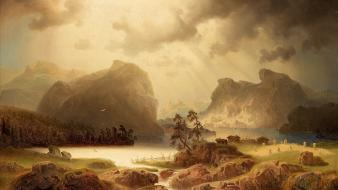 Norway fjords houses landscapes paintings Wallpaper