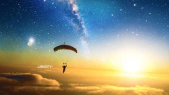 Parachuting drum and bass liquicity outer space sunrise Wallpaper