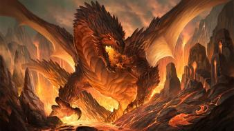 Red dragon sandara dragons fantasy art wallpaper