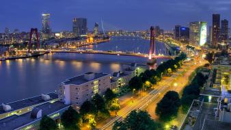 Rotterdam bridges landscapes nature night wallpaper