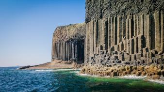 Scotland uninhabited cliffs columns islands wallpaper