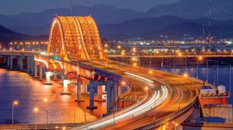 South korea atom bridges cityscapes lights wallpaper