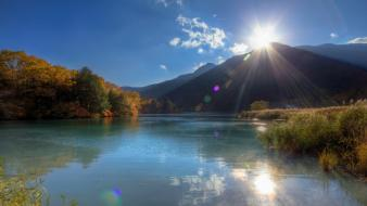Sun landscapes mountains nature sunlight wallpaper