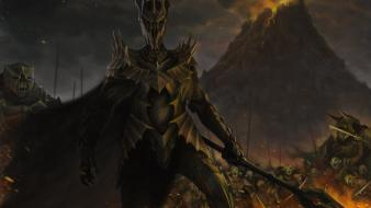 The rings online sauron fantasy art volcanoes wallpaper
