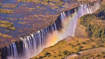 Africa zambia nature rainbows water Wallpaper