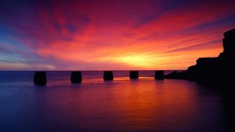 Beaches landscapes multicolor ocean sunset Wallpaper