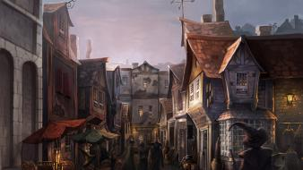Diagon alley harry potter artwork digital art fantasy wallpaper
